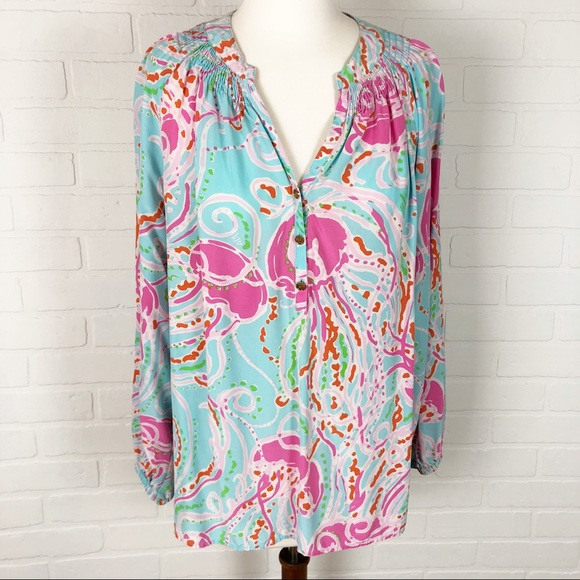 daf0479afec454 Lilly Pulitzer Tops - Jellies Be Jammin Lilly Pulitzer Elsa Blouse XL